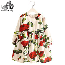 Retail 2-8 Milan Princess Dress Red Rose Flax Long Sleeve Clothing Baby Girl Cute Korean Floral Print Spring fall 2016 New(China)