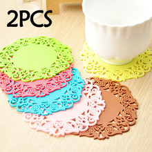 2Pcs/Lot Lace Flower Hollow Doilies Silicone Coaster Coffee Table Cup Mats Pad Placemat Kitchen Accessories Cooking Tools(China)
