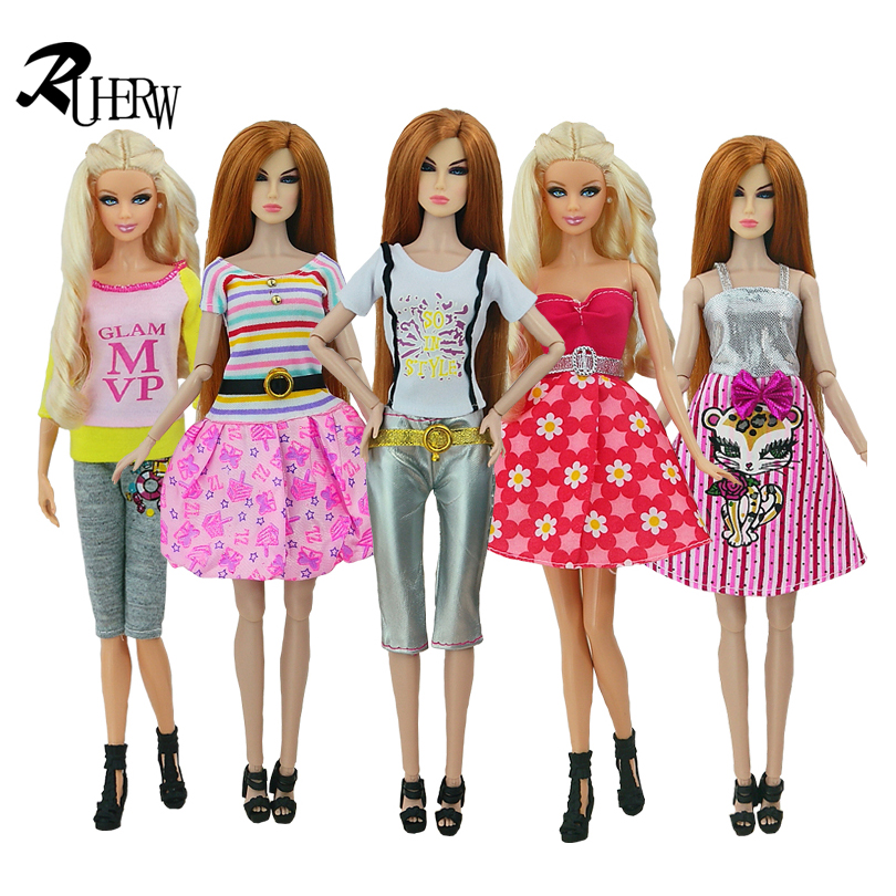 5 Pcs Handmade fashion clothes For Barbie Doll dress baby girl birthday new year present for kids(China (Mainland))