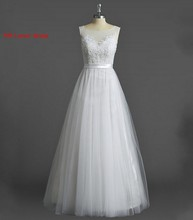 Long A Line Wedding Dresses Tulle 2017 Covered Buttons Bridal Party Gowns Fairytale Princess Dress Unique Design(China)
