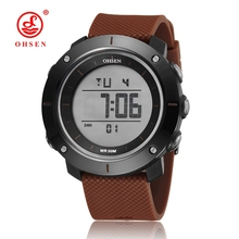 New in 2017 wholesale OHSEN electronic Led diving sport watch men male coffee fashion LCD wristwatches reloj hombre for gift