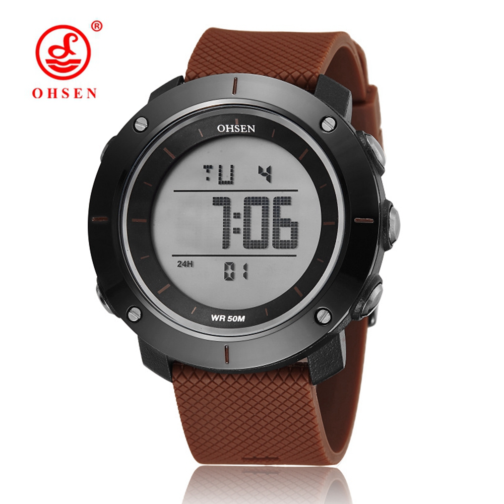 New in 2017 wholesale OHSEN electronic Led diving sport watch men male coffee fashion LCD wristwatches reloj hombre for gift(China (Mainland))
