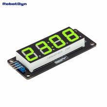 "4-Digit LED 0.56"" Display Tube GREEN (clock, double dots), 7-segments, TM1637, disp. size 50x19mm"