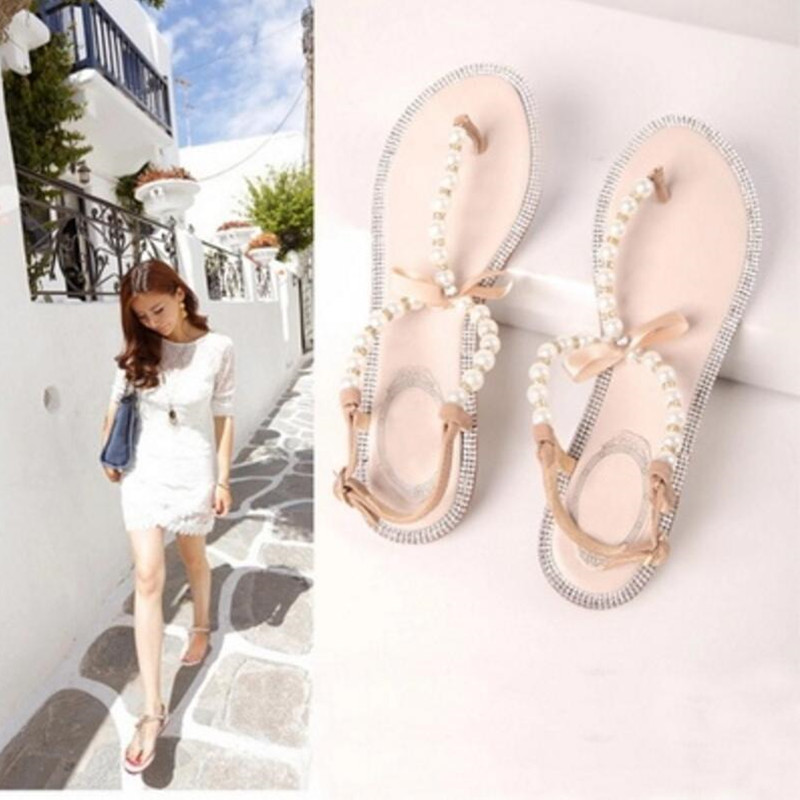 Koovan Women Sandals 2017 Summer Fashion Shoes Girls Bow Diamond Pearl Women Sandals Flat Sandals Woman Shoes Larger Size 33-43<br><br>Aliexpress