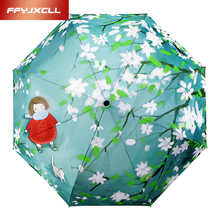 Creative Cartoon Pattern Children Three-folding Silver Coating Sunny and Rainy Umbrella Boy Girl Gift Umbrella kids parasol(China)