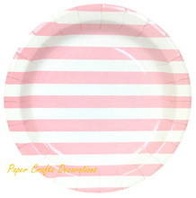 12pcs/lot 9inch Baby Pink Striped Theme Party Round Paper Plates Wedding Cupcake Tableware Party Supplies Free Shipping(China)