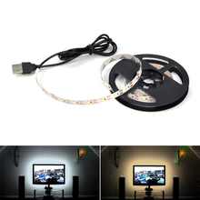 Novelty lights Newest No harm eyes USB 5V LED Flexible Strip 3528 SMD 50CM 1M 2M Warm/White/RGB strip TV Background Decoration(China)