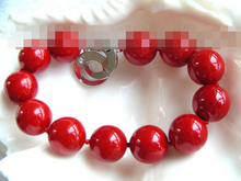09846       red round south seashell pearls bracelet