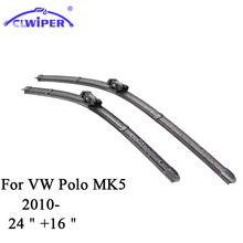 "CLWIPER Wiper Blades For VW VOLKSWAGENS POLO MK5 2010- 2011 2012 2013 2014 Car Windscreen Wiper Windshield Wiper Blade 24""+16""(China)"