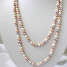 "Free shipping natural 7-8mm white pink purple freshwater pearls round beads necklace top quality women gifts jewelry 50"" MY4514"