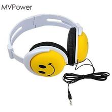 MVpower Cartoon Smile Face Girls Boys Children Kids Foldable 3.5mm Wired Headphones Earphone overhead headband headset(China)