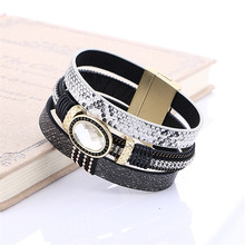 2016 Fashion Big Gem Rhinestone Wide Magnetic Leather Bracelets Bangles For Women Jewelry Wristband brazaletes pulseras mujer