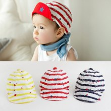 Kids Girls Boy Caps Cotton Star Print Toddlers Baby Hat Flat Visor Snapback J88