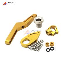 Gold CNC Direction Steering Damper Stabilizer Holder Bracket Mounting Screws for Kawasaki Ninja ZX6R ZX636 2013-2016 2015 2014