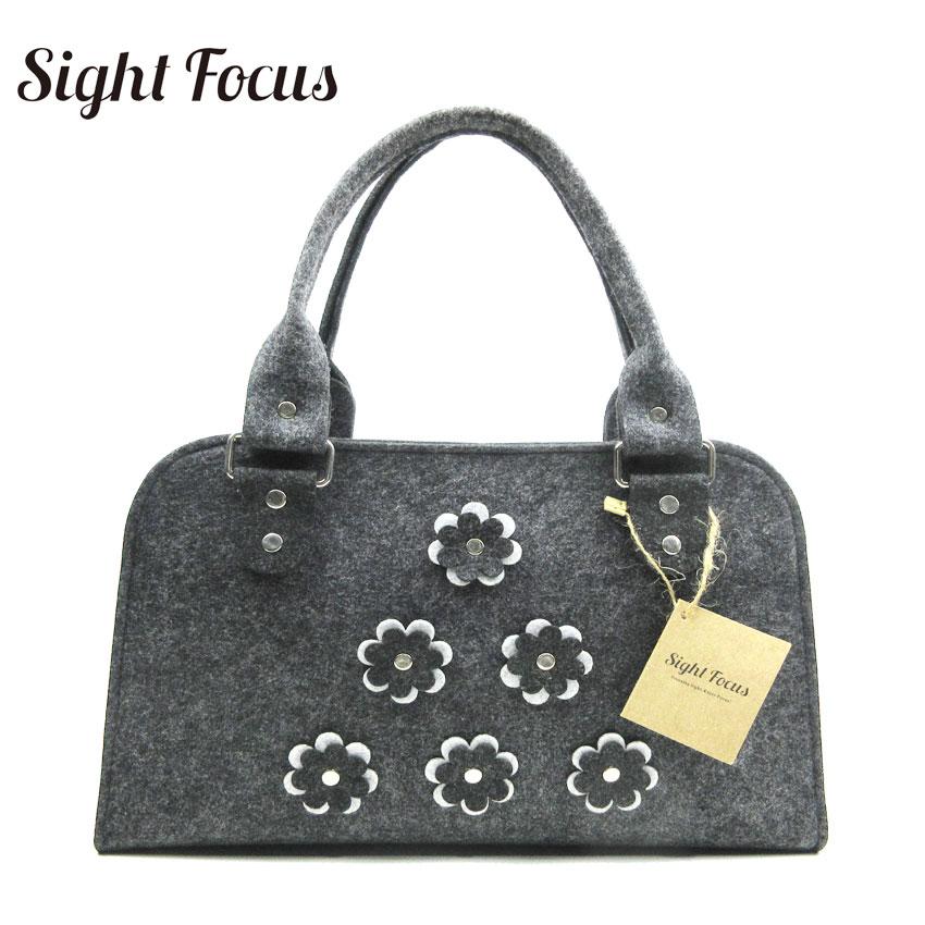 Sight focus brand vintage shell style gray felt womans tote bag fashion flowers patterns felt bag soft folding female hand bag <br>