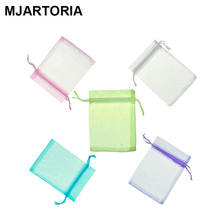 100PCs Fixed Mixed Organza Wedding Gift Bags Pouches Fine Jewelry Findings Fashion Pacakge Storage 9x7cm (5 Colors Each 20PCs)