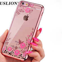 USLION Luxury Diamond Phone Case for Apple iPhone 5 5s SE Soft Plating TPU Secret Garden Flower Phone Back Cases Cover(China)