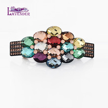 Retail Crystal Hair Clip Flower Cellulose Acetate Rhinestone Hair Accessories Buyer for Women Jewelry Clip Gift Free Shipping