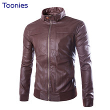 Hot Sale Spring Autumn Motorcycle Leather Jacket Men Fashion Slim Mens Leather Jackets Solid Zipper Casual Coats Brand Clothing