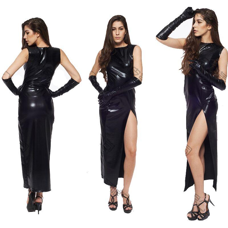 Sexy Fetish Black Vinyl Leather Bodysuit Lingerie Dress Erotic Bondage Latex Long PU Dress and Gloves Clubwea 1