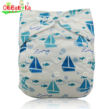 Ohbabyka Cloth Diaper Cover Adjustable Baby Nappies Reusable Baby Nappy Changing Bamboo Nappy Diaper Baby Underwear Fit 0-2years(China)