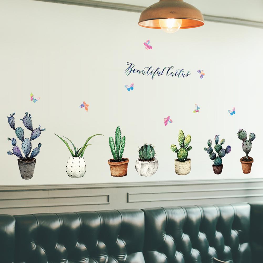 HTB1L gphhPI8KJjSspfq6ACFXXab - Creative Pot Plant Cactus Wall Sticker