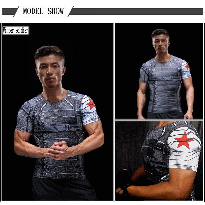 Short Sleeve 3D T Shirt Men T-Shirt Male Crossfit Tee Captain America Superman tshirt Men Fitness Compression Shirt Punisher MMA 54