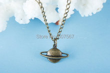 Wholesale~ planet saturn necklace, space galaxy charm, planet necklace, saturn, Solar System(China)