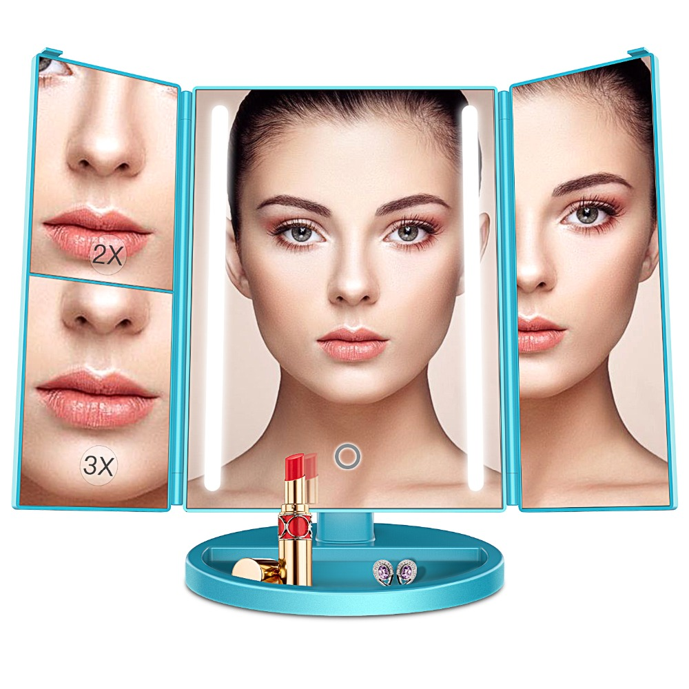 BESTOPE Makeup Mirror with 24 LED Light Trifolding Portable Adjustable Mirror 2X/3X Magnifying Tabletop Standing Cosmetic Mirror<br>