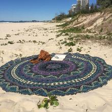 Bohemian Round Bath Towel Women Girls Cover Ups Printed Shawl Exotic Tribal Circle Blankets Beach Towel Camping Mat