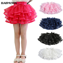 Tulle Fluffy Children Girls TuTu Skirts Girl Dance skirts With Satin Ribbon Bowknot Princess Layered skirt Bubble Skirt 3-14Y