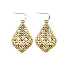 ZWPON Bohemian Gold Filigree Hollow Teardrop Earrings Fashion Jewelry 2018 Fashion Women's Morocco Statement Earrings Wholesale(China)
