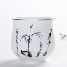 Creative china ink painting teacups 160ml white ceramic water cup large capacity Japanese Kung Fu King tea cup free shipping(China)