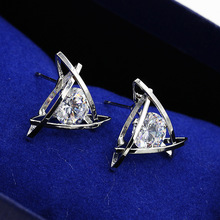 Fashion Lovely Stud Earrings With Silver Plated Pendientes Ear Charm Earring Women Jewelry
