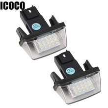 ICOCO 2pcs 12V 18 LEDs Licence Number Plate Light Bulbs for Peugeot 206 207 306 C3 C4 5*Sara Car styling Hot Sale Drop Shipping(China)