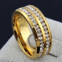 Online Shopping Super Deals bague homme femme Fashion Men and Women Universal Ring Gold Double Row Drill Free Shipping