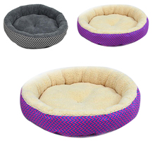 Fashion Hot Sale 2 Colors Round Soft Dog House Bed Striped Pet Cat And Dog Bed Grey /Red-Blue Size S M Pet Products(China)