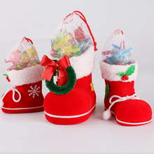 Red Stocking Xmas Candy Gift Boots Bag Christmas Tree Decoration Ornaments Holiday Home Party New Year Christmas Decoration R109
