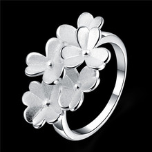 silver plated Flower Ring frosted Romantic engagement gift sweet princess style jewelry you deserve Global cheap hot