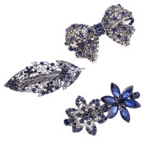 New Metal Black Crystal Rhinestone Oval Bowknot Barrettes Clips Clamp Hairpin Headwear Women Hair Accessories(China)