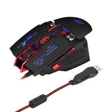 HXSJ X200 USB Wired Competitive Gaming Mouse Macro Definition Programming Game Mice Adjustable 4000DPI  LED Lighting For Laptop