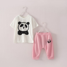 SL-70, summer children girls clothing sets, T shirt + middle pant, panda cartoon