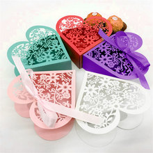 50pcs/set Heart Shape Candy Box Wedding Marriage Party Favors Gifts Candy Boxes Flower Cut Wedding Gifts With Silk Ribbon(China)