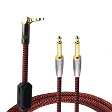 "90 Degree Right Angle 3.5mm Mini Jack to Dual 6.35mm 1/4"" TRS Cable Audio for TV PC Phone Speaker AMP Stereo 1M 2M 3M 5M 8M"