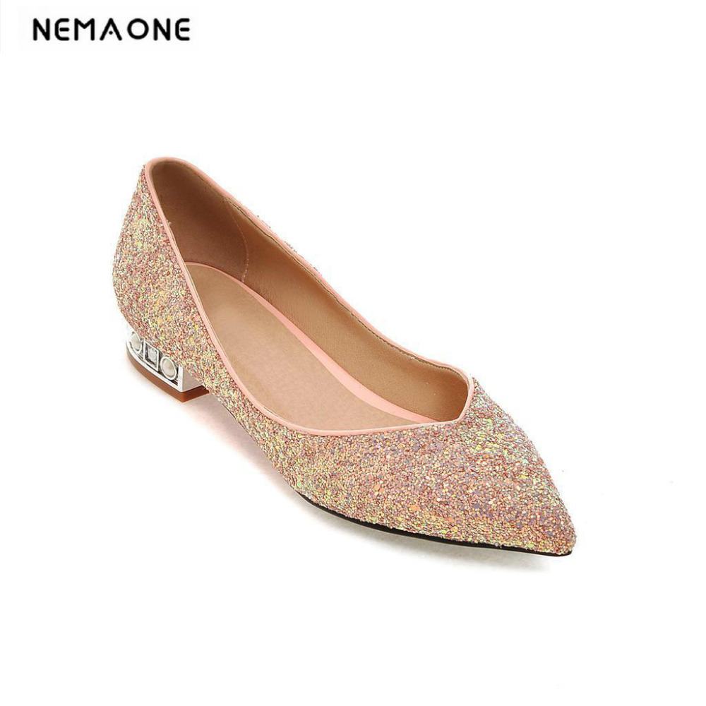 New fashion women shoes low heel casual shoes woman elegant bling poined toe dress shoes<br>