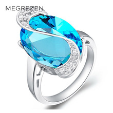 MEGREZEN Women Fashion Emerald Ring Silver Plated CZ Diamond Wedding Engagement Rings With Big Stones Love Jewelry A005-5