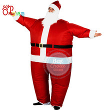 2017 Hot Inflatable Christmas Santa Claus Costume for Women and Men with Wig Beard Hat and Fan