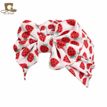 Children vintage big bow Headbands fruit pattern Kid Hat Girl Soft Cute Turban kids beanie Knotted hair band(China)