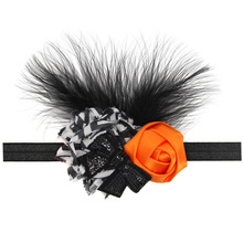 New Baby Girls Halloween Headband Orange Spooky Ribbon Bow Infant Accessories Fall Festival Pageant Boutique Photo Prop 1pc(China)