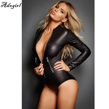 Adogirl Hot Latex Catsuit Zipper Detail Gothic Faux Leather Bodysuit Cat Women Fetish PVC Teddy Lingerie Erotic Clubwear Costume